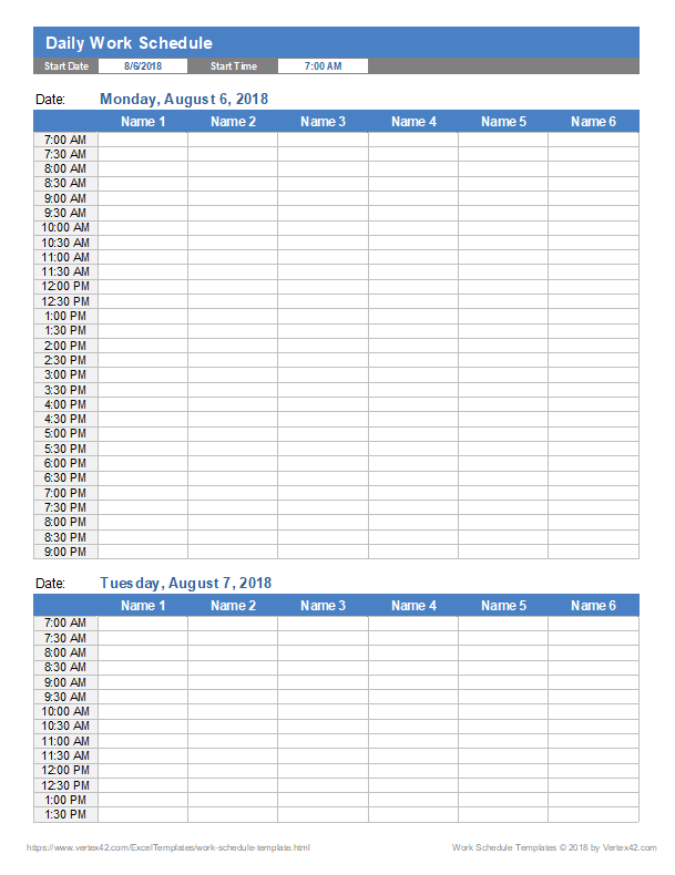 Here is preview of another employee work. Work Schedule Template For Excel