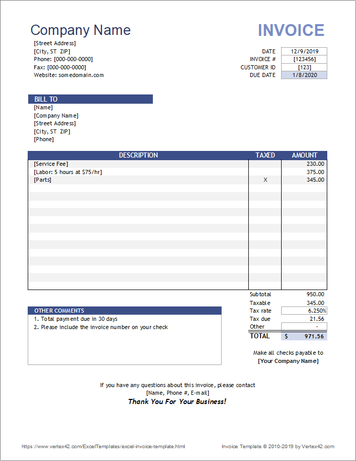 Using microsoft excel to keep track of invoices is a great way to stay organized. Free Invoice Template For Excel