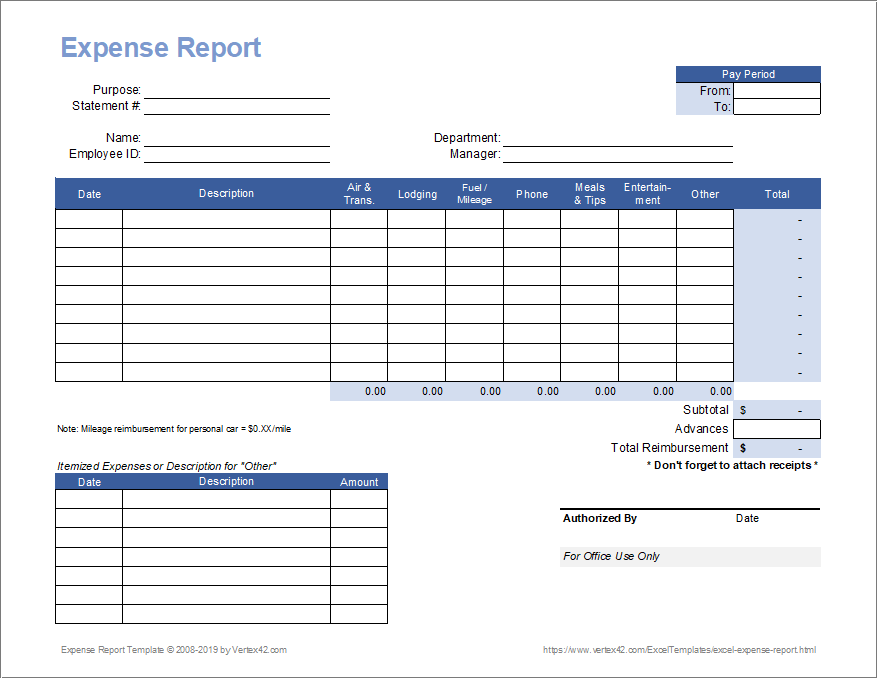 Have your employees submit their business and travel expenses with this expense report form template. Free Expense Report Template