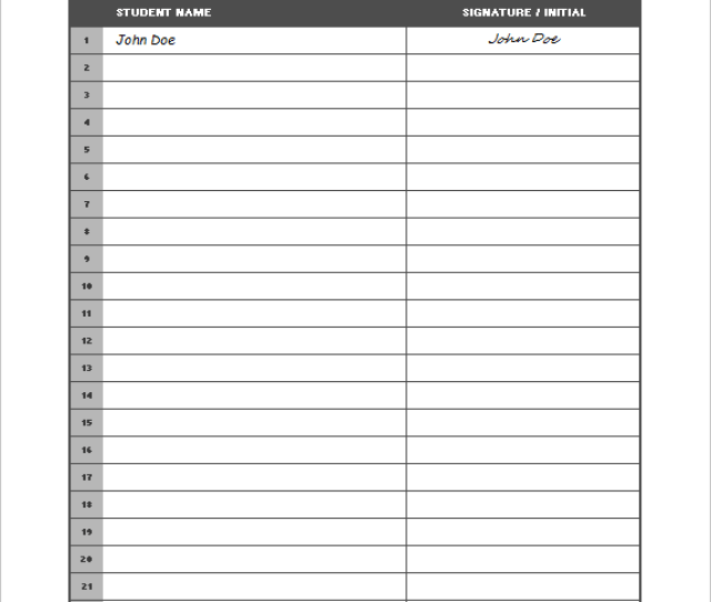 Sign In Roster Template