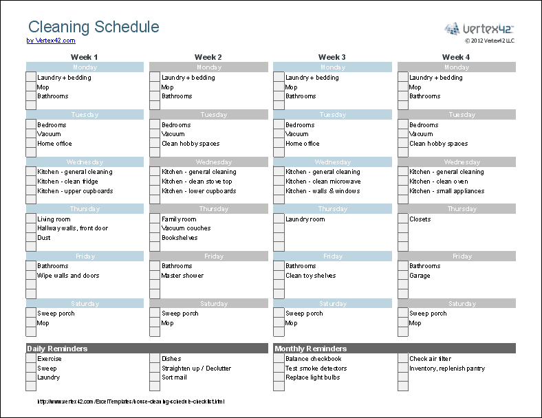 Housing cleaning checklist download now; Cleaning Schedule Template Printable House Cleaning Checklist