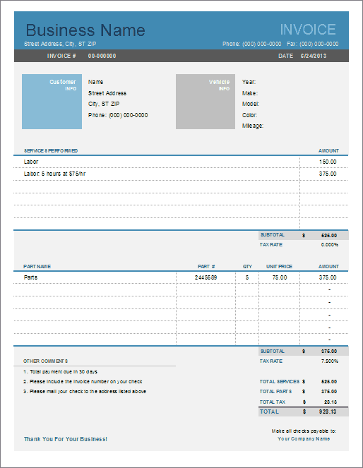 Cars need looking after to perform at their best, and doing some simple checks can help to keep them well maintained and roadworthy. Auto Repair Invoice Template For Excel