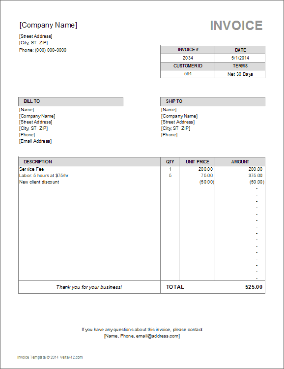 Excel and word templates for invoices include basic invoices as … Billing Invoice Template For Excel