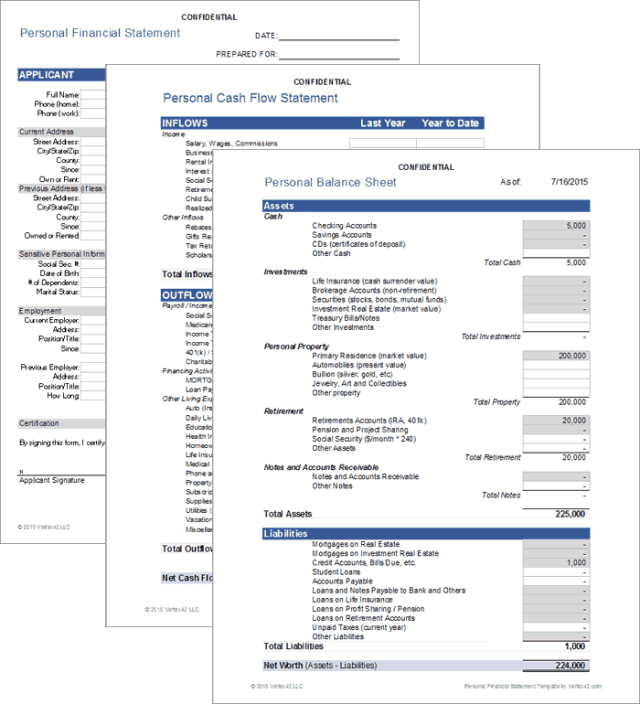Personal Financial Statement Template Excel - FREE DOWNLOAD