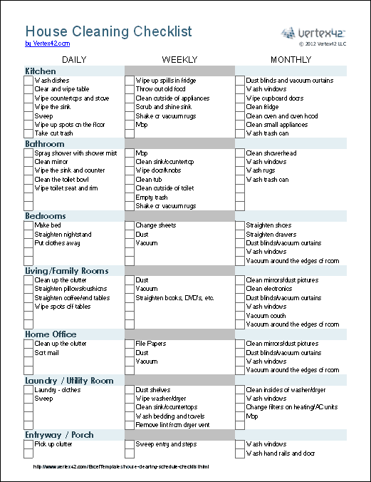 cleaning checklist printable free download