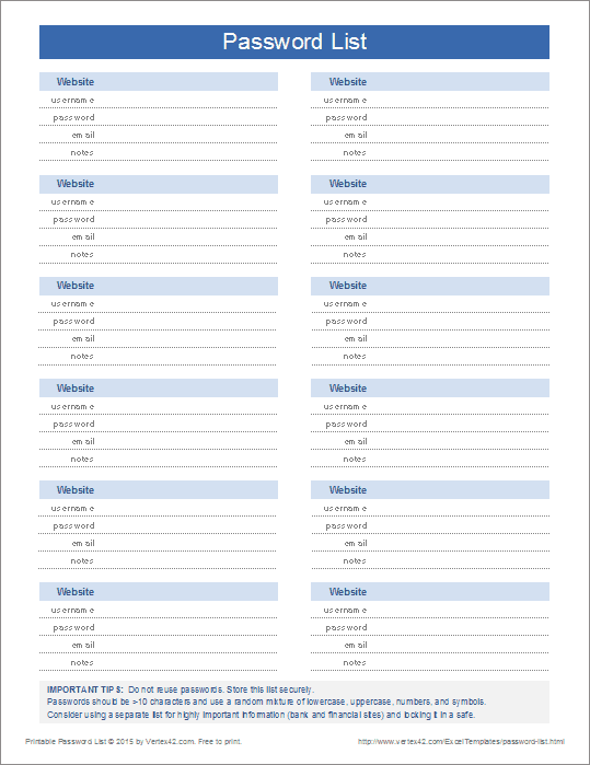 A password manager is essential for generating, protecting, and organizing important passwords. Printable Password List