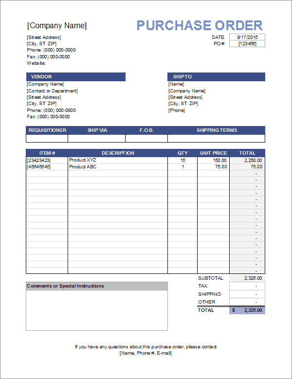 Work order invoice template ms excel Purchase Order Template
