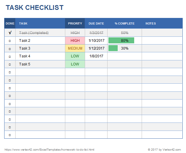 Keep track of your tasks with this basic task tracking template for excel. Free Task List Templates For Excel