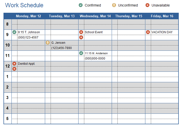A weekly schedule template is great for routine items or special events, like conferences, training programs, or travel plans. Work Schedule Template For Excel