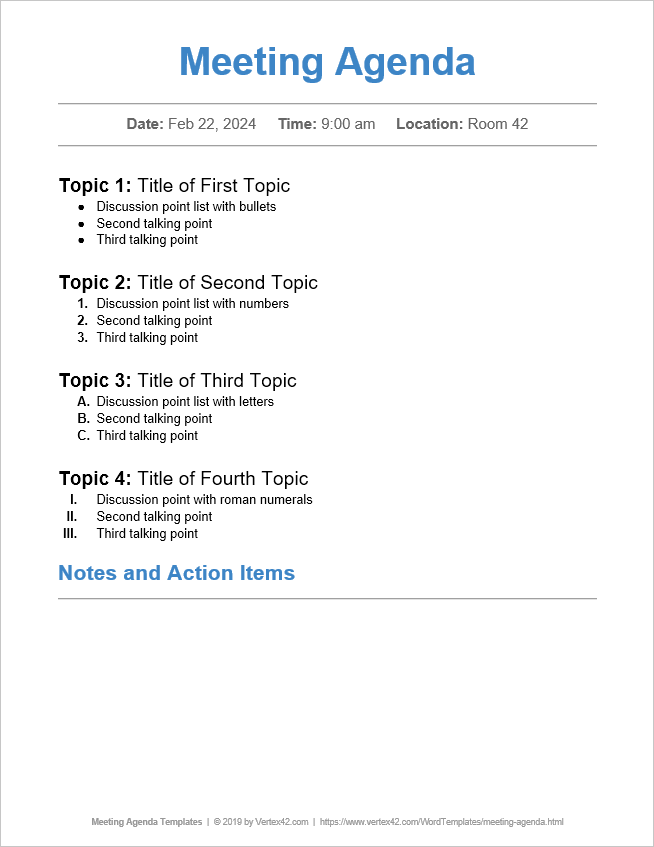 23/06/2020· therefore, below the meeting agenda template, you can have a section that attendees can include takeaways, decisions, take notes, and document action items. 10 Free Meeting Agenda Templates Word And Google Docs