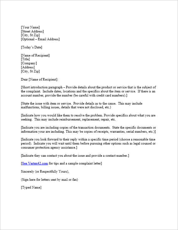 A letter of intent to purchase the property with reference to our conversation held on 18.07.2019. Free Complaint Letter Template Sample Letter Of Complaint