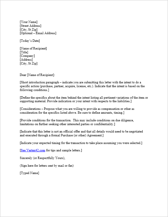 Free Letter Of Intent Template Sample