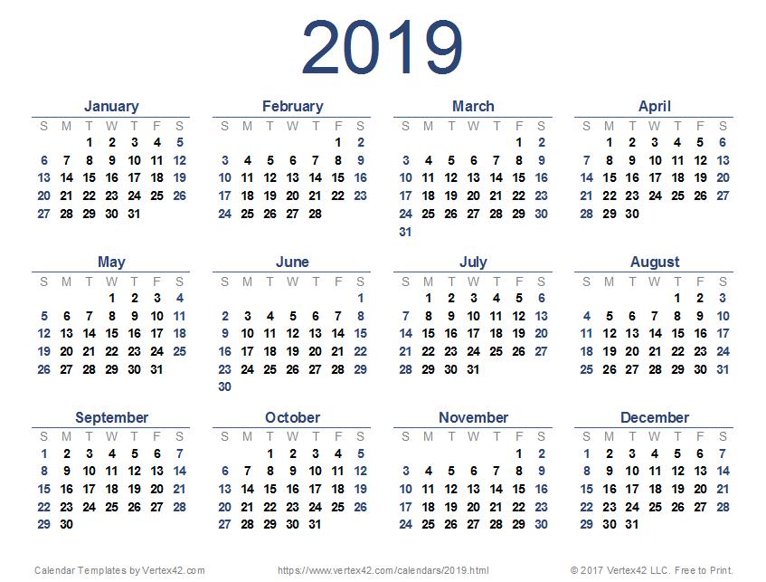 2019 Printable Weekly Planner Templates