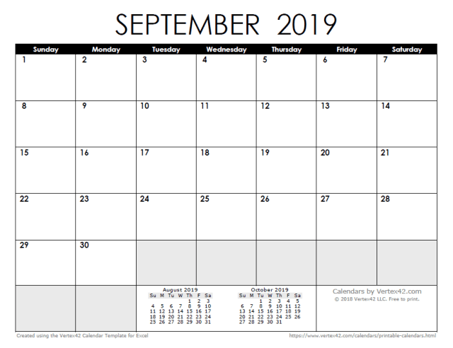 2019 calendar - free download