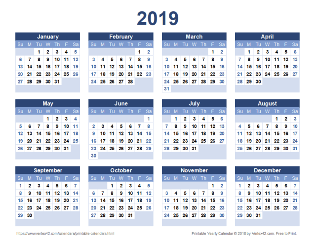 2019 yearly calendar landscape