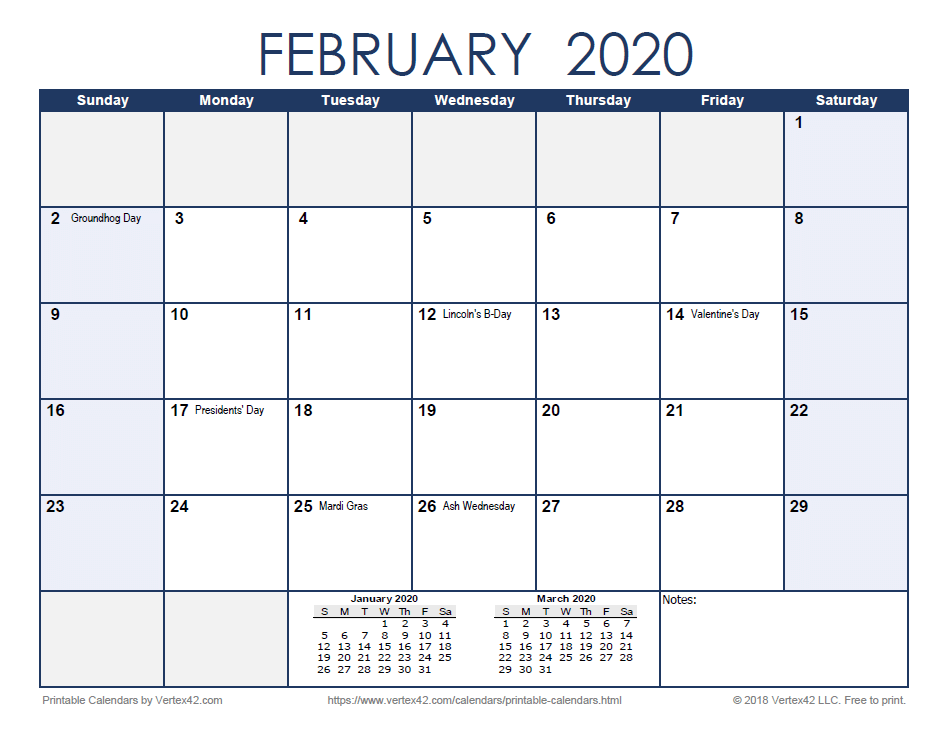 Below the main calendar, a notes space is displayed. Free Printable Calendar - Printable Monthly Calendars