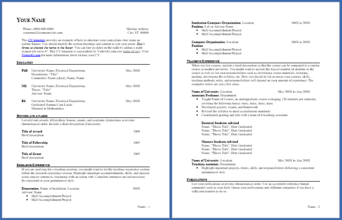 Curriculum Vitae Template And Cv Example