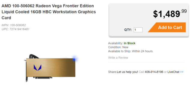 AMD 100 506062 Radeon Vega Frontier Edition Liquid Cooled 16GB HBC Workstation G 1000x462 AMD Radeon Vega Frontier Liquid Edition finally made its way to SabrePCs website