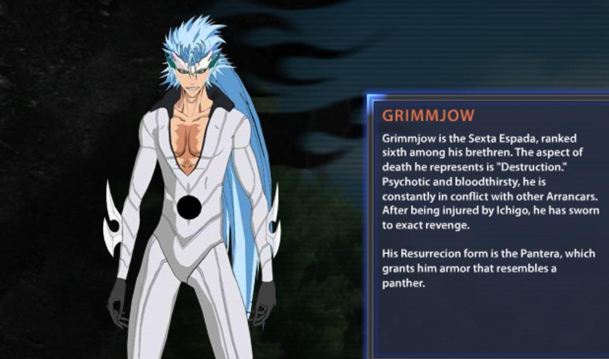 bleach: soul resurreccion grimmjow bio and artwork