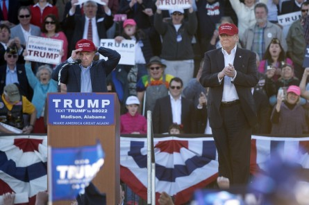 Sen. Sessions, left, endorsed Trump, right, over the weekend. (Tom Williams/CQ Roll Call)