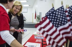 UNITED STATES - MARCH 5 - Heidi Cruz, wife of Republican presidential candidate Sen. Ted Cruz, meets with a campaign volunteer at the Chatham County GOP Convention, at Horton Middle School in Pittsboro, N.C., Saturday, March 5, 2016. (Photo By Al Drago/CQ Roll Call)