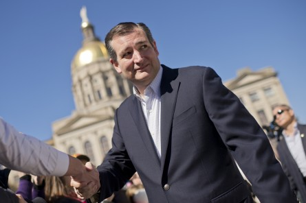 UNITED STATES - FEBRUARY 27: Presidential candidate Sen. Ted Cruz, R-Texas, arrives for a campaign rally near the Georgia State Capitol Building in Atlanta, Ga., February 27, 2016. (Photo By Tom Williams/CQ Roll Call)