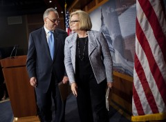 WASHINGTON - MAY 17:  U.S. Sen. Charles E. Schumer (D-NY) and U.S. Sen. Claire McCaskill (D-MO) leave after a press conference oil price fixing on Capitol Hill May 17, 2011 in Washington, DC.  Schumer and McCaskill held the news conference to announce a letter they sent to the Federal Trade Commission asking the agency to investigate potential price fixing by oil refineries.  (Photo by Brendan Smialowski/Getty Images)