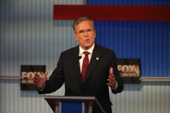 MILWAUKEE, WI - NOVEMBER 10:  Republican presidential candidate Jeb Bush speaks during the Republican Presidential Debate sponsored by Fox Business and the Wall Street Journal at the Milwaukee Theatre November 10, 2015 in Milwaukee, Wisconsin. The fourth Republican debate is held in two parts, one main debate for the top eight candidates, and another for four other candidates lower in the current polls.  (Photo by Scott Olson/Getty Images)