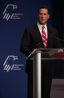 WASHINGTON, DC - DECEMBER 03:  Republican presidential candidate and former U.S. Sen. Rick Santorum addresses the Republican Jewish Coalition at Ronald Reagan Building and International Trade Center December 3, 2015 in Washington, DC. Candidates spoke and took questions from Jewish leaders and activists as they continued to seek the Republican presidential nomination.  (Photo by Alex Wong/Getty Images)