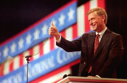 Quayle campaigns in 1992. (Bob Pearson/Getty Images File Photo)