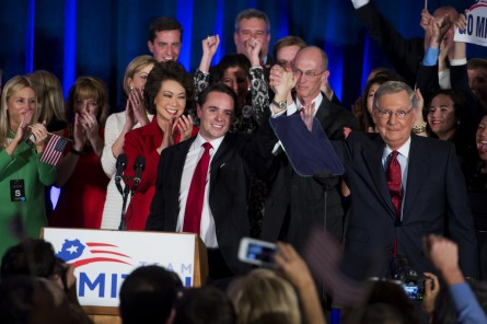 Holmes joined McConnell and supporters on stage election night in Louisville. (Tom Williams/CQ Roll Call)