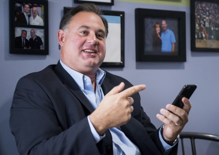UNITED STATES - AUGUST 25: Rep. Frank Guinta, R-N.H., left, speaks during a business roundtable discussion on cyber security at Jenaly Technology in Portsmouth, N.H., on Tuesday, Aug. 25, 2015. (Photo By Bill Clark/CQ Roll Call)