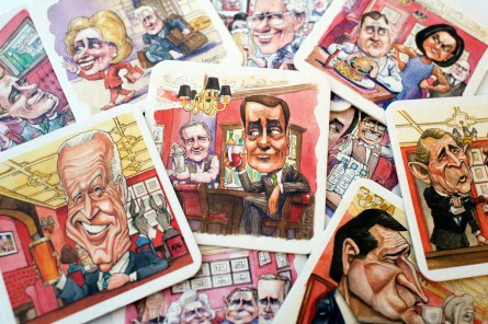 Coasters featuring political figures such as Speaker John Boehner, R-Ohio, center, are being offered at the Off the Record bar in the Hay Adams Hotel. (Photo By Tom Williams/CQ Roll Call)