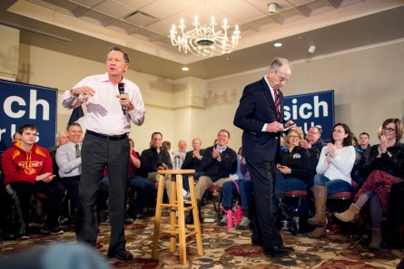 UNITED STATES - JANUARY 29 - Republican presidential candidate, Ohio Gov. John Kasich speaks as Sen. Charles Grassley, R-Iowa, departs during a campaign stop at the National Czech & Slovak Museum and Library, Friday, Jan. 29, 2016, in Cedar Rapids, Iowa.  (Photo By Al Drago/CQ Roll Call)