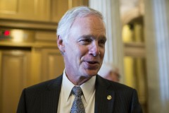 UNITED STATES - JANUARY 27: Sen. Ron Johnson, R-Wisc., speaks with reporters following the Senate Republicans' policy lunch on Tuesday, Jan. 27, 2015. (Photo By Bill Clark/CQ Roll Call)