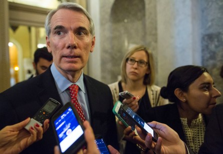 UNITED STATES - DECEMBER 8 - Sen. Rob Portman, R-Ohio, takes questions from reporters after the weekly Senate Republicans luncheon on Capitol Hill in Washington, Tuesday, December 8, 2015. (Photo By Al Drago/CQ Roll Call)