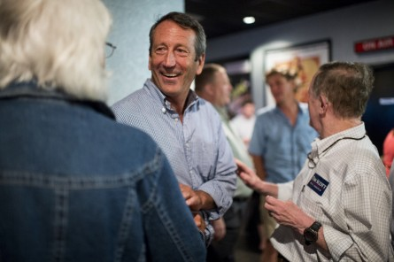 UNITED STATES - AUGUST 6: Rep. Mark Sanford, R-S.C., speaks with fellow Republicans in the lobby of the Mount Pleasant Cinebarre theater following the Charleston County GOP debate watch party in Mount Pleasant, S.C. on Thursday, Aug. 6, 2015. (Photo By Bill Clark/CQ Roll Call)