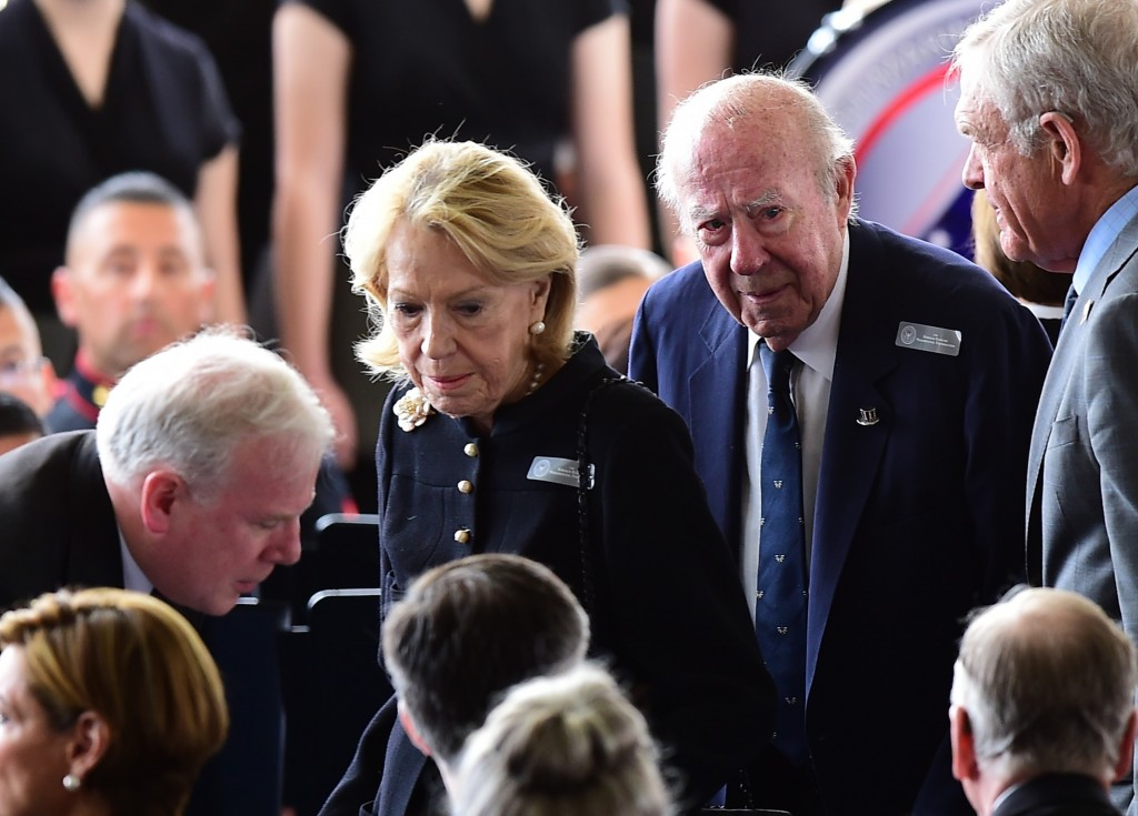 Former US Secretary of State George Schultz (2nd R) and his wife, Charlotte Mailliard Shultz, arrive for funeral services for former First Lady Nancy Reagan at the Ronald Reagan Presidential Library on March 11, 2016, in Simi Valley, California. AFP PHOTO/FREDERIC J. BROWN / AFP / FREDERIC J. BROWN (Photo credit should read FREDERIC J. BROWN/AFP/Getty Images)
