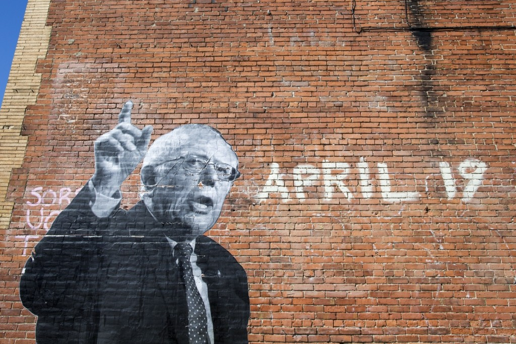 An image of Sanders on the side of an Elmwood Village building. (Al Drago/CQ Roll Call)