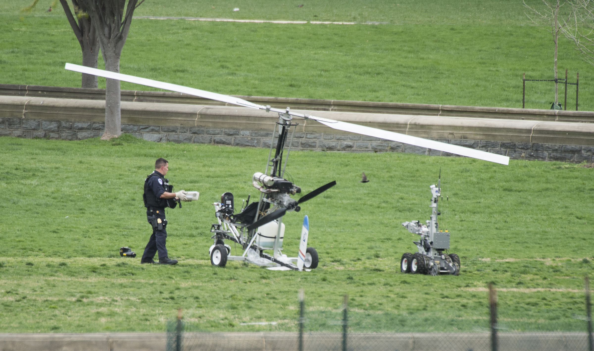 The gyrocopter that Douglas Hughes landed on the Capitol lawn in April 2015. (Photo By Bill Clark/CQ Roll Call)
