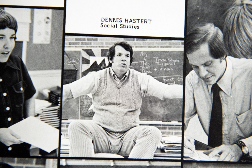 UNITED STATES - APRIL 21: Former House Speaker Dennis Hastert, R-Ill., is pictured in a 1975 Yorkville, Ill., High School yearbook, April 21, 2016. Hastert, who once taught and coached wrestling at the school, will be sentenced on April 27th for trying to cover up money transactions meant to pay off a student who alleged that sexual abuse took place when Hastert was a teacher. (Photo By Tom Williams/CQ Roll Call)
