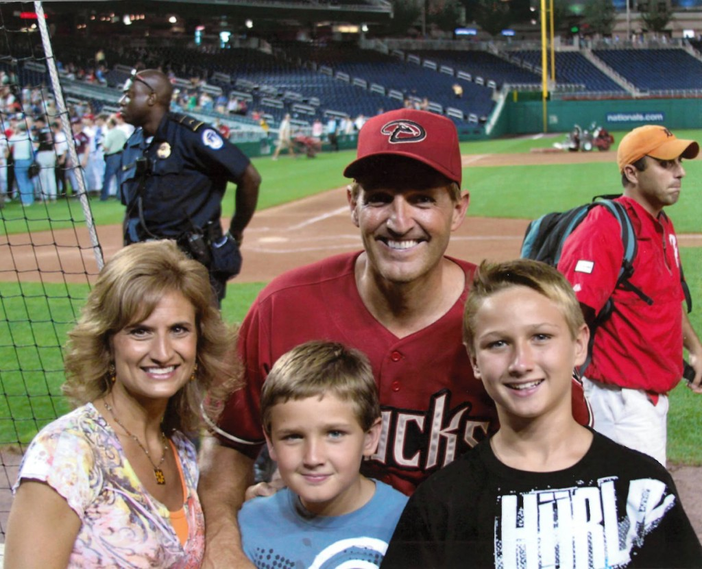 Arizona Sen. Jeff Flake with his wife and two sons after the game. (Courtesty Sen. Jeff Flake)
