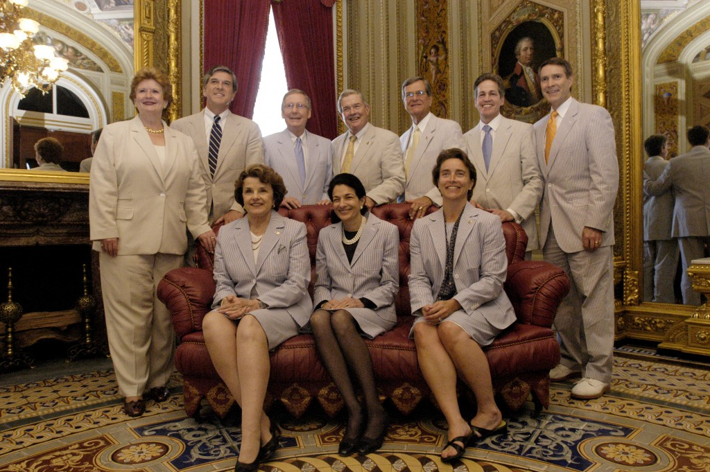 Back Row: Sen. Debbie Stabenow (D-MI), Sen. Gordon Smith (R-OR), Senate Majority Whip Sen. Mitch McConnell (R-KY), Sen. Christopher Bond (R-MO), Sen. Trent Lott (R-MS), Sen. Norm Coleman (R-MN), Senate Majority Leader Sen. Bill Frist (R-TN), FRONT ROW: Sen. Dianne Feinstein (D-CA), Sen. Olympia Snowe (R-ME) and Sen. Blanche Lincoln (D-AR) pose for photographers during a photo session for the annual official photo of