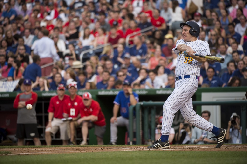 Sen. Chris Murphy, D-Conn., hits during the 54th Annual Roll Call Congressional Baseball Game in 2015. (Photo By Bill Clark/CQ Roll Call File Photo)