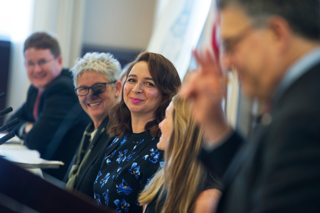 UNITED STATES - SEPTEMBER 27: Actress Maya Rudolph listens to Sen. Al Franken, D-Minn., speak during a briefing at the Reserve Officers Association building to express support for the Cleaning Product Right to Know Act, September 27, 2016. The legislation would require manufacturers to disclose the ingredients of their cleaning products. (Photo By Tom Williams/CQ Roll Call)
