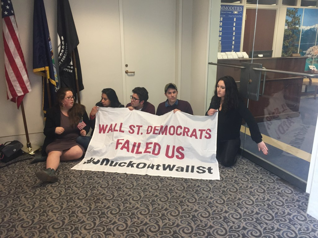 Protesters outside Schumer's office. (Courtesy Alex Gangitano)