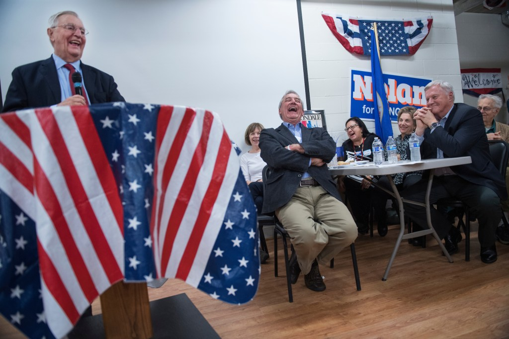 Former Vice President Walter Mondale, left, speaks at a fish fry and fundraiser for Nolan, center, in Brainerd, Minn., on Oct. 27. Reps. Collin C. Peterson of Minnesota and <a class=