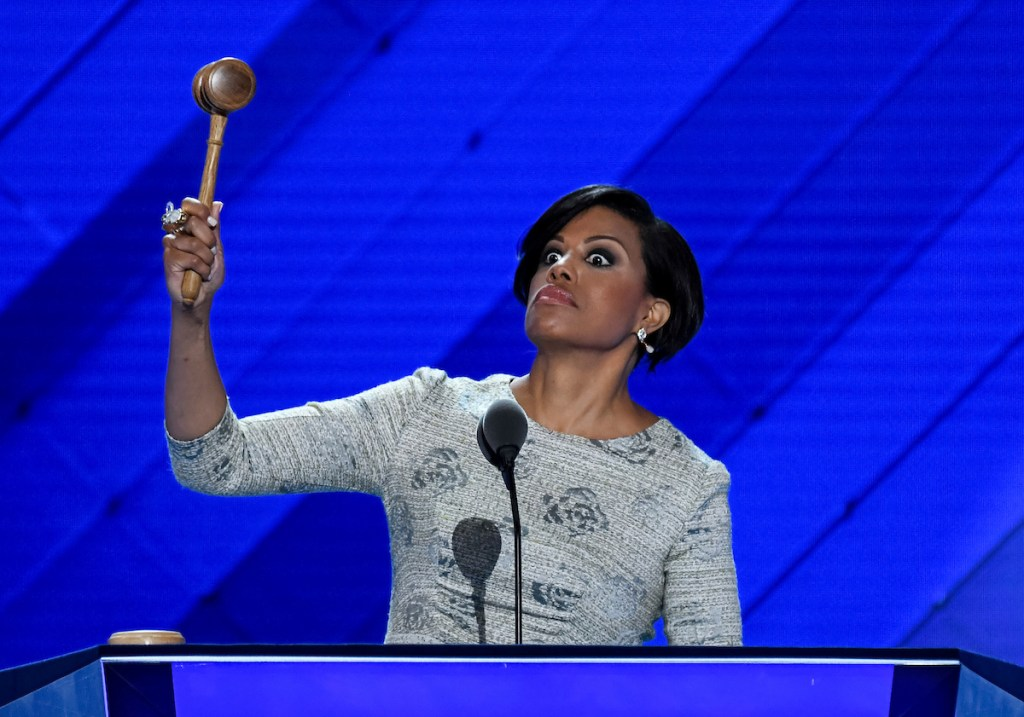 15. July 25: Baltimore Mayor Stephanie Rawlings-Blake returns to the podium after forgetting to use the gavel as she opens the Democratic National Convention in Philadelphia. (Bill Clark/CQ Roll Call file photo)