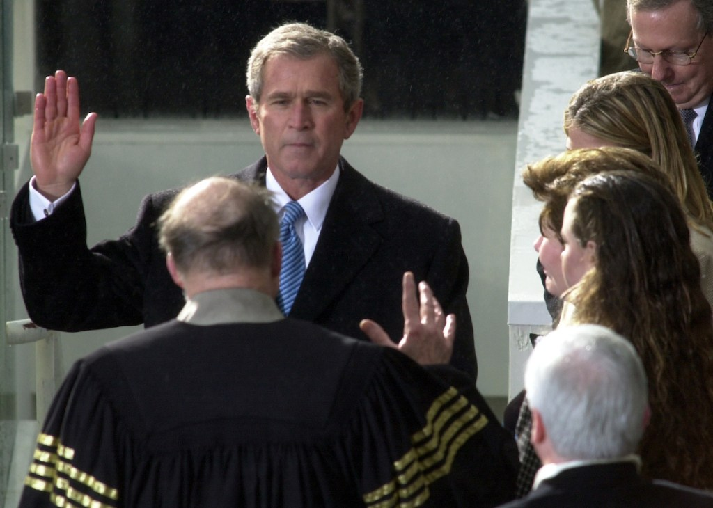 President George W. Bush is sworn in as the 43rd president. (CQ Roll Call file photo)