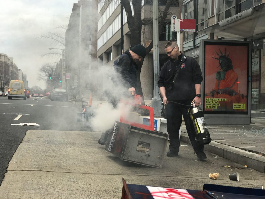 Firefighters quickly extinguished a fire near 13th Street and Massachusetts Avenue Friday morning before Trump's swearing-in. (Matt Rhodes for CQ Roll Call)